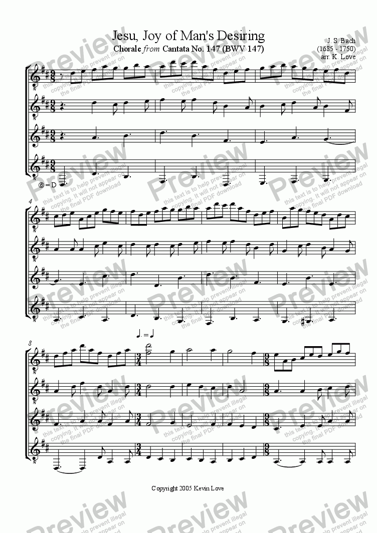 page one of Jesu, Joy of Man's Desiring (Quartet)