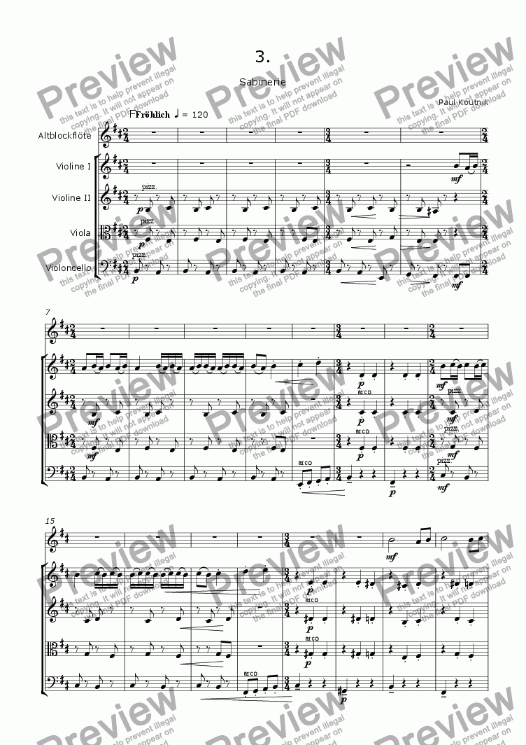 page one of Quintet For Recorder And Strings: 3. Movement - Rondo
