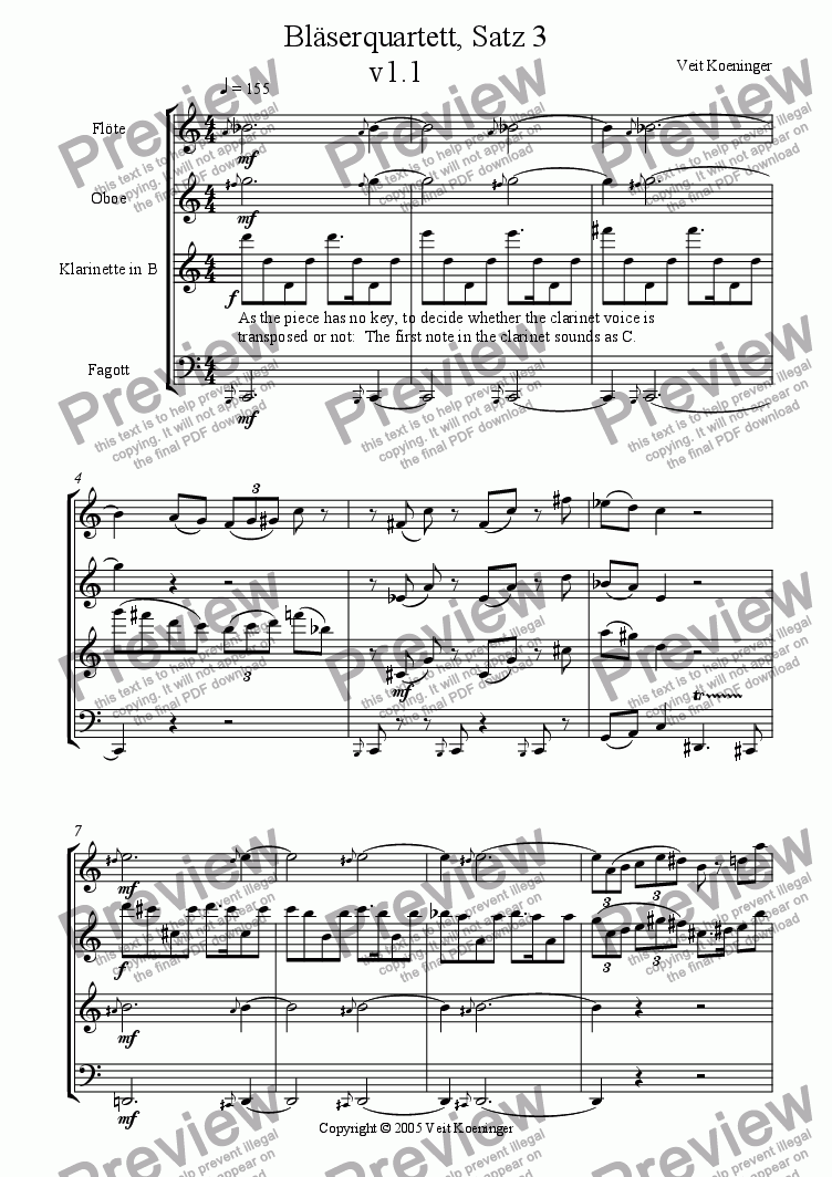 page one of Wind quartet 1, Movement 3
