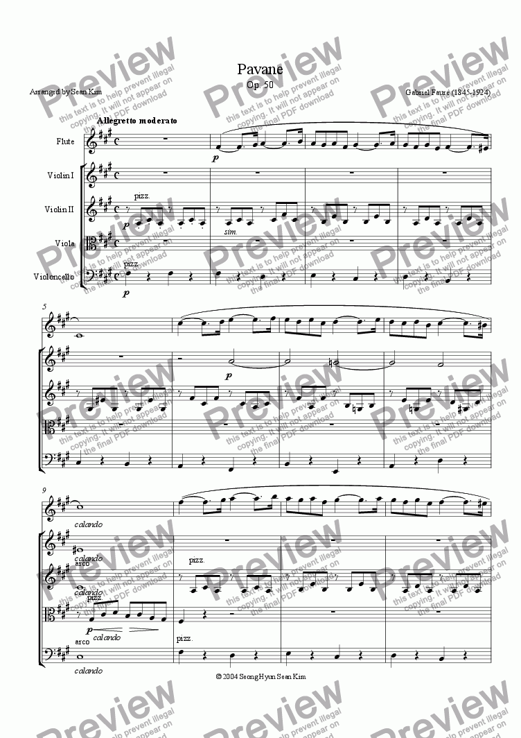page one of Pavane