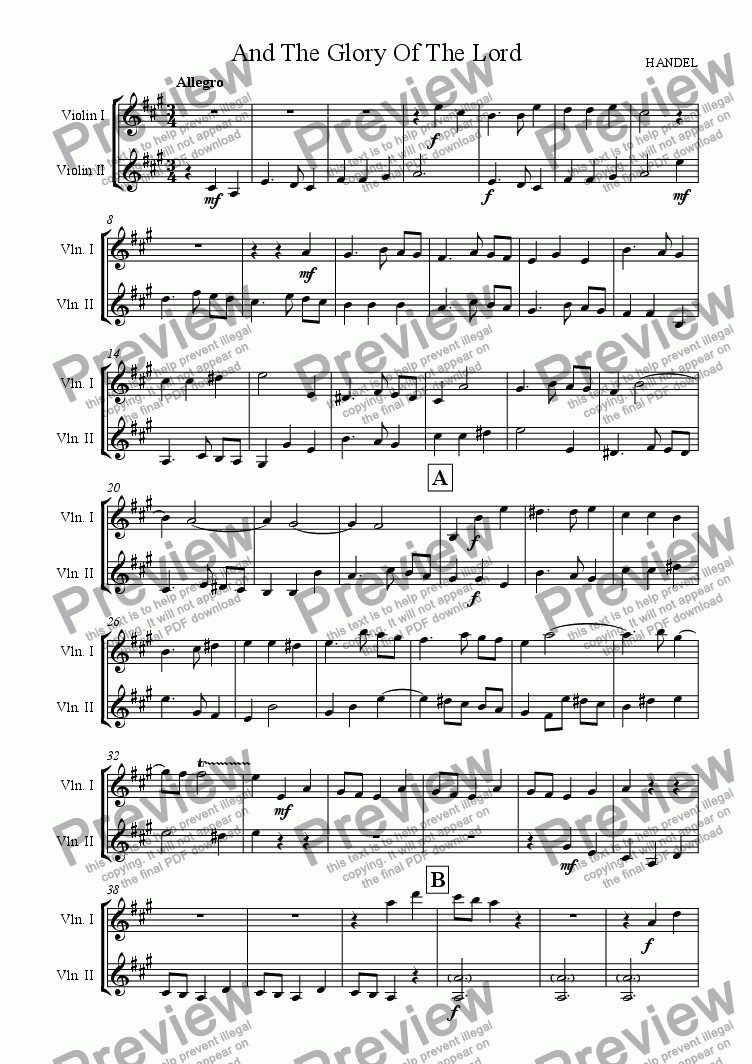 "page one of ""And The Glory Of The Lord"" from Handel's Messiah (Violin Duet)"