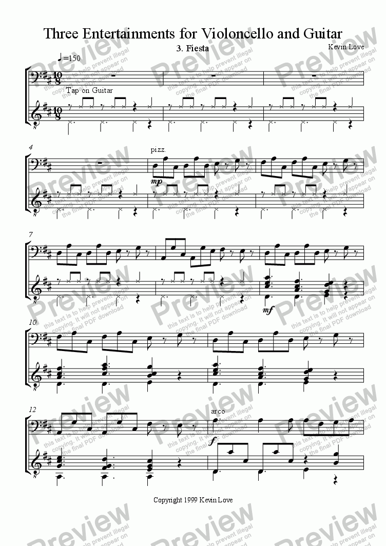 page one of 3 Entertainments for Cello and Guitar - Fiesta