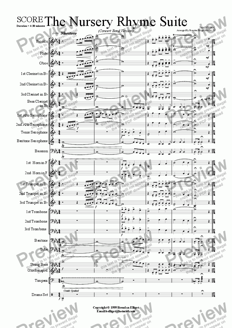 page one of The Nursery Rhyme Suite - Concert Band