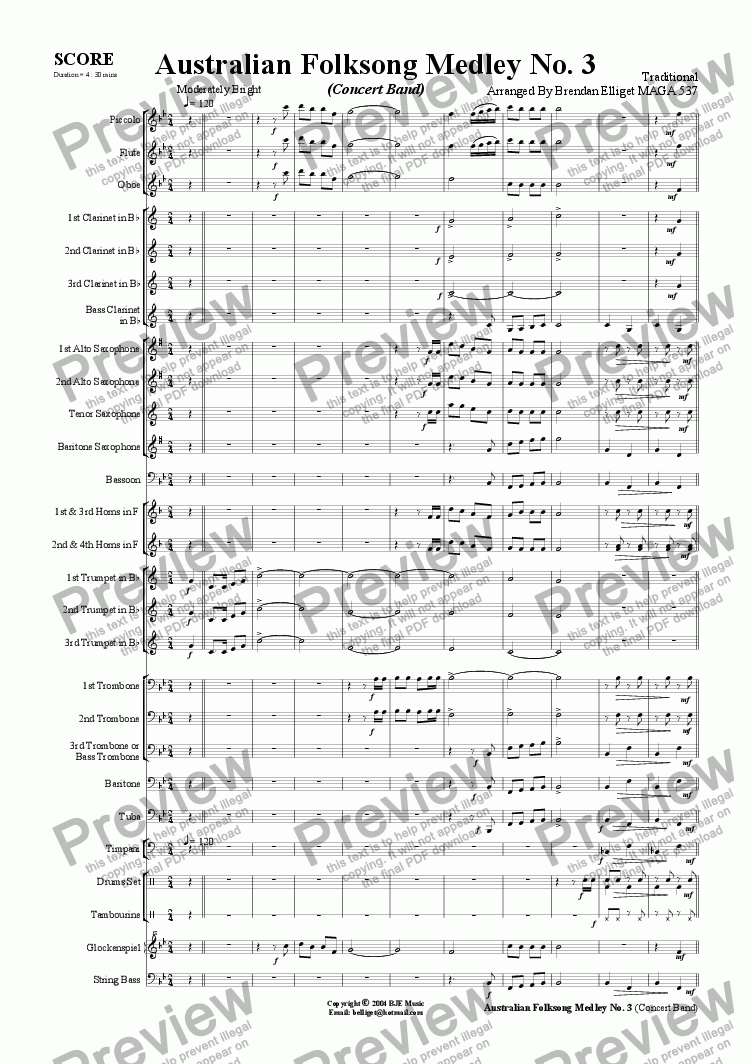 page one of Australian Folksong Medley No. 3 - Concert Band