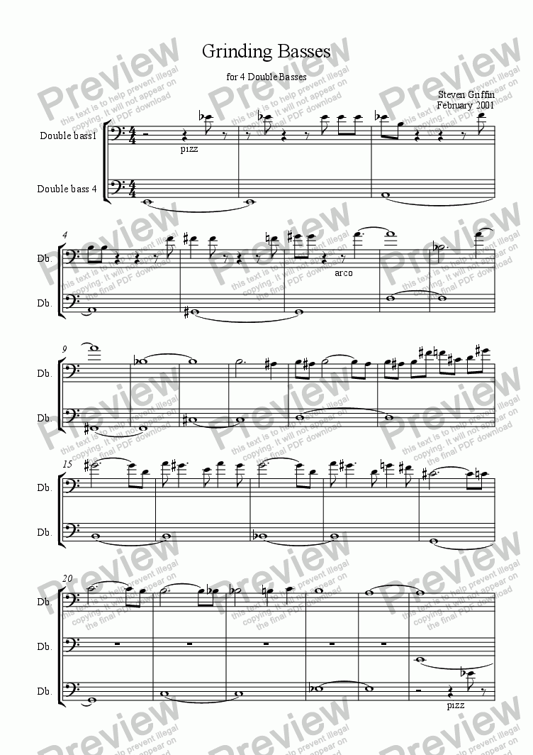 page one of Grinding Basses for Double Bass QuartetASALTTEXT