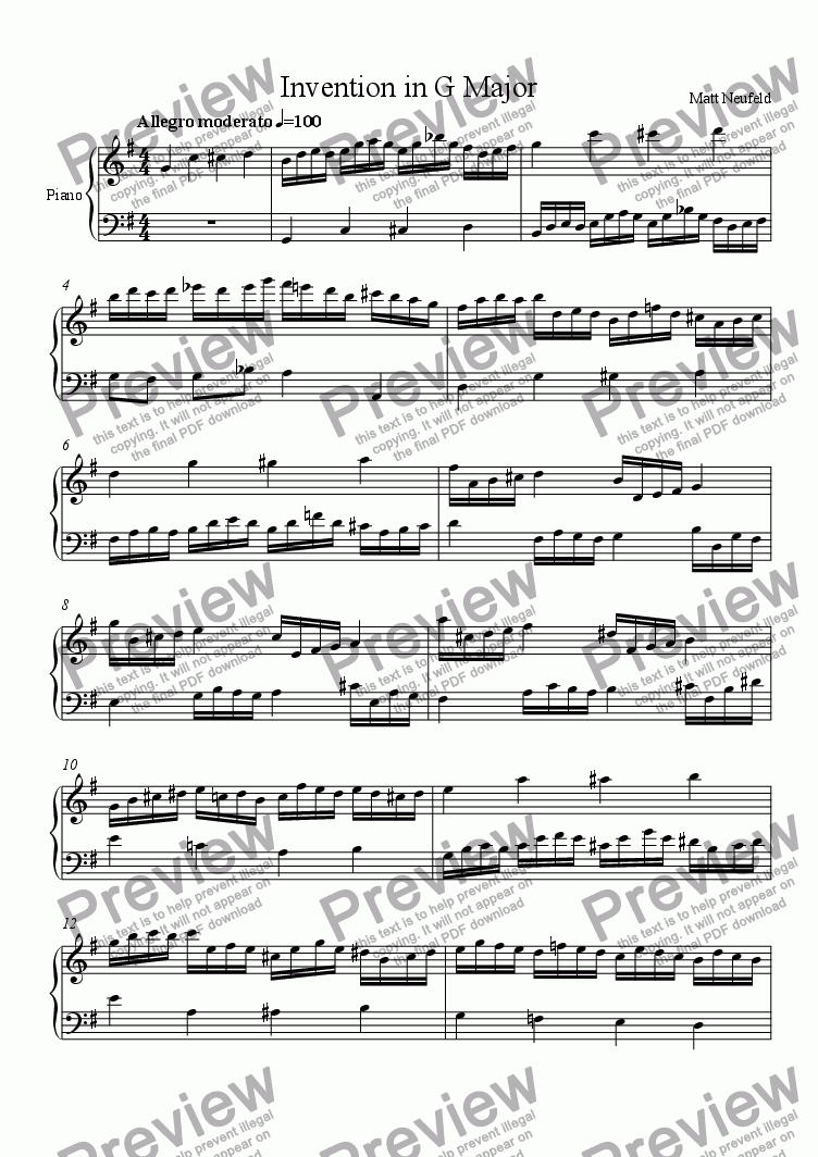 page one of Invention in G Major