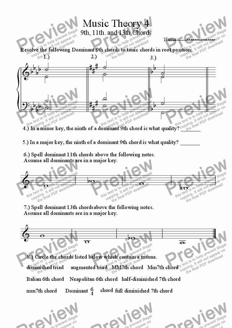 page one of Music Theory Extended Triads