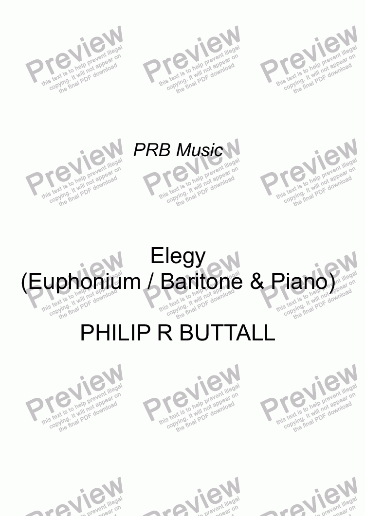 page one of Elegy (version for Euphonium / Baritone)