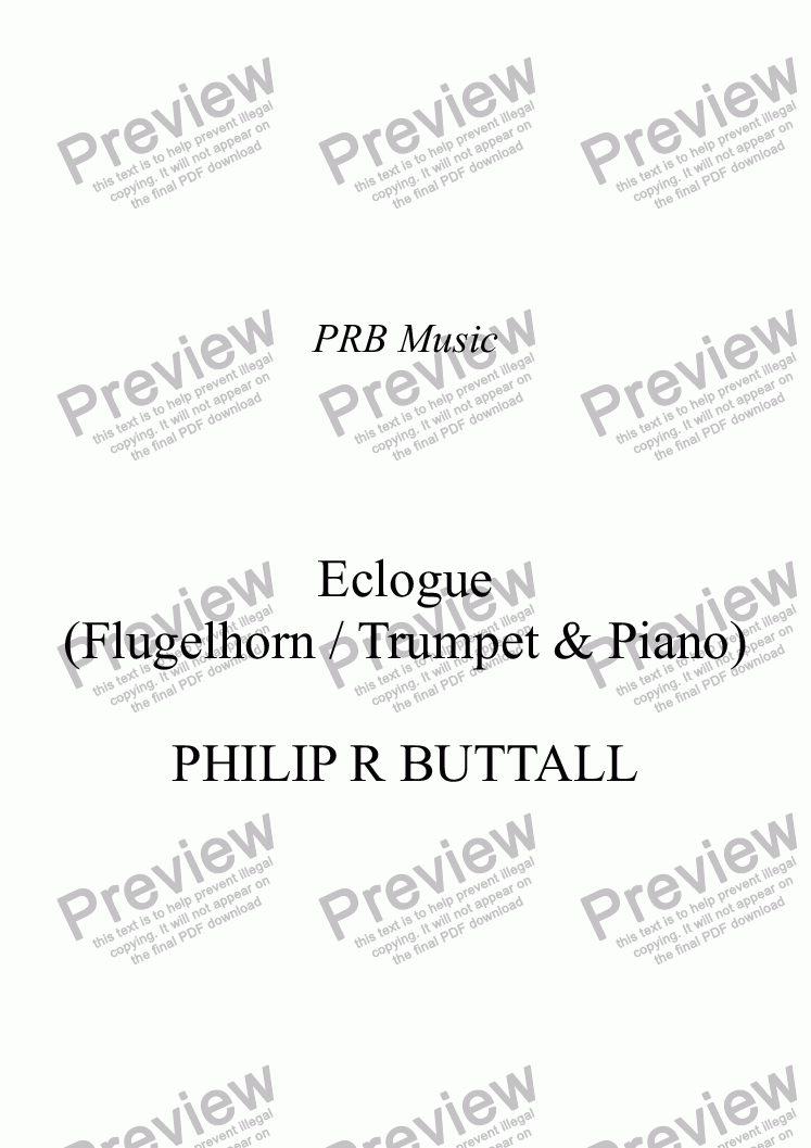 page one of Eclogue for Flugelhorn (or Trumpet) & Piano