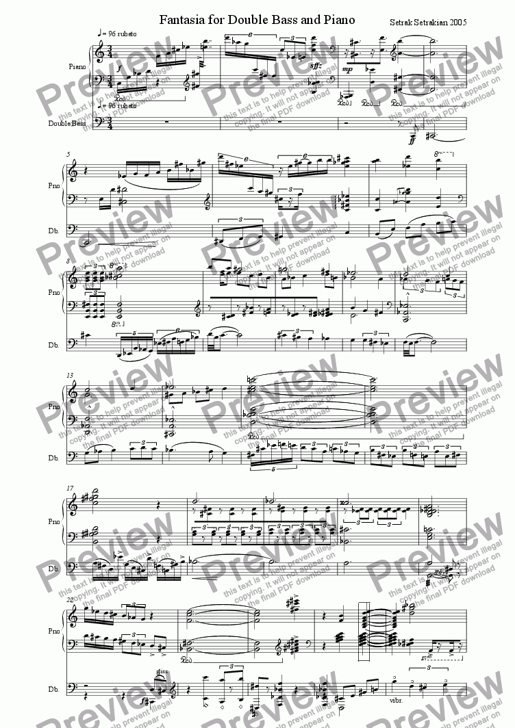 page one of Fantasia for Double Bass and Piano