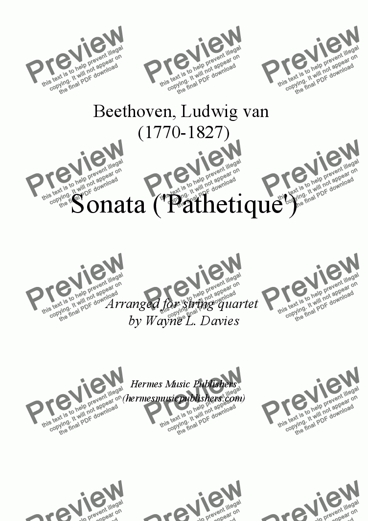 page one of 'Pathetique' Sonata for String Quartet