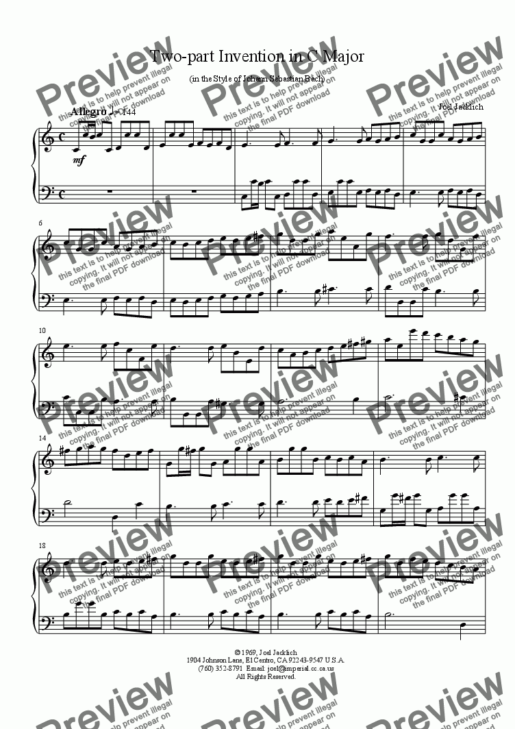 page one of Two-part Invention in C Major in the Style of J. S. Bach