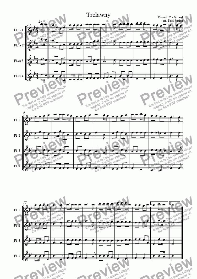 page one of Trelawny - Flute Quartet