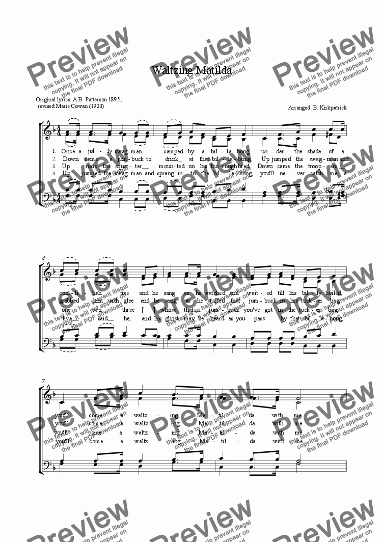 page one of Waltzing Matilda- a cappella choir sheet music