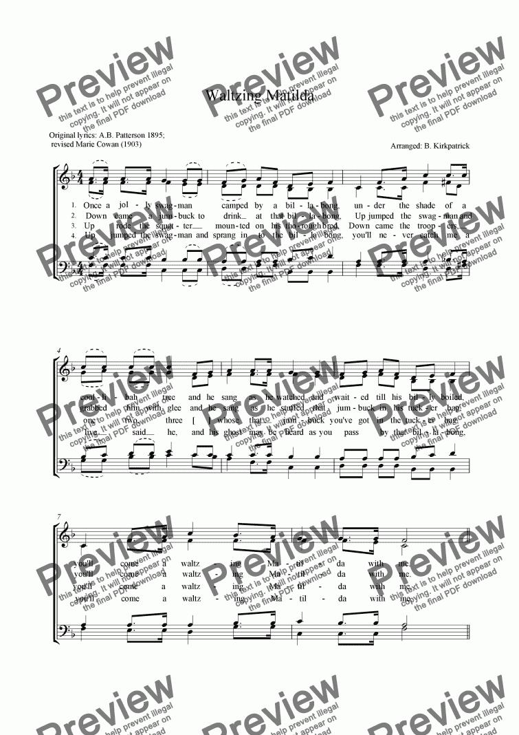 Waltzing Matilda- a cappella choir sheet music for Choir by M Cowan - Sheet  Music PDF file to download