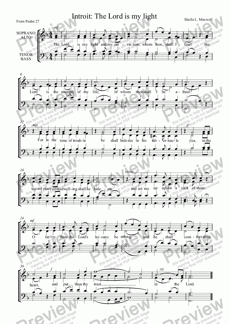 page one of Introit: The Lord is my Light