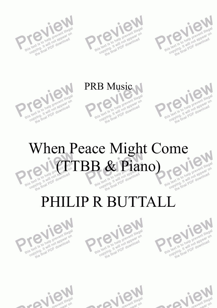 page one of When Peace Might Come (TTBB)