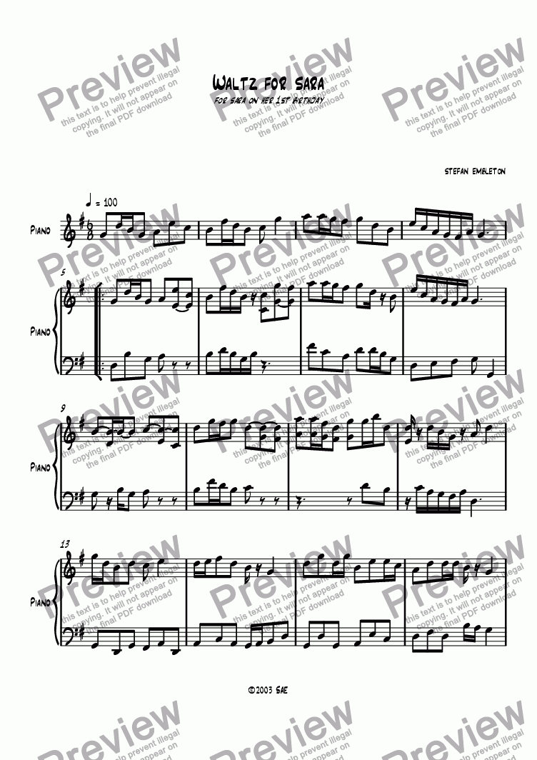 page one of Waltz for Sara