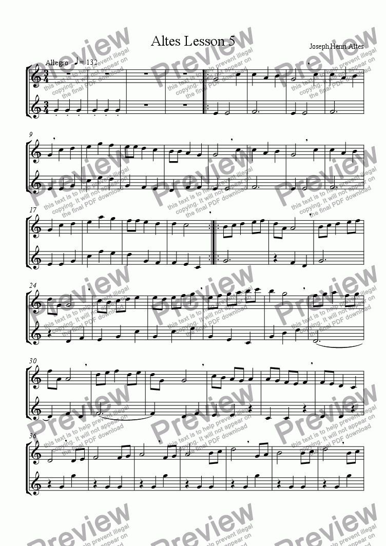 page one of Altes Flute Lesson 5