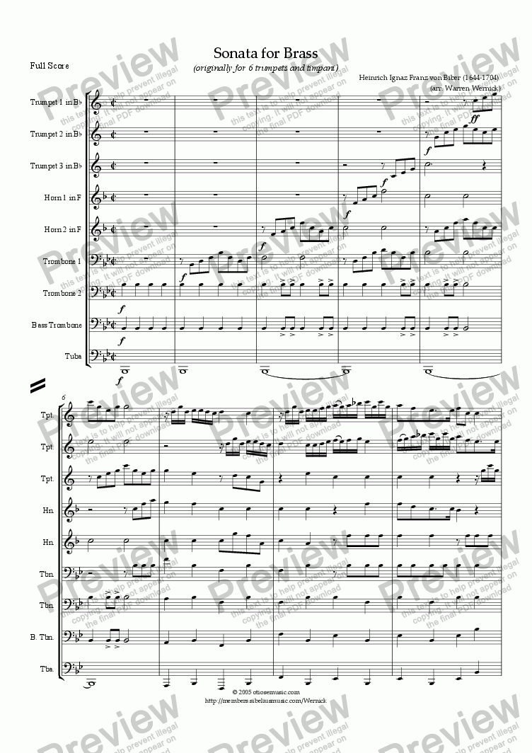 page one of Sonata for Brass