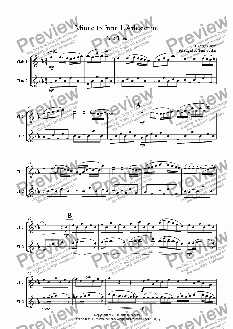 page one of Minuetto from L'Arlesienne - Flute Duet