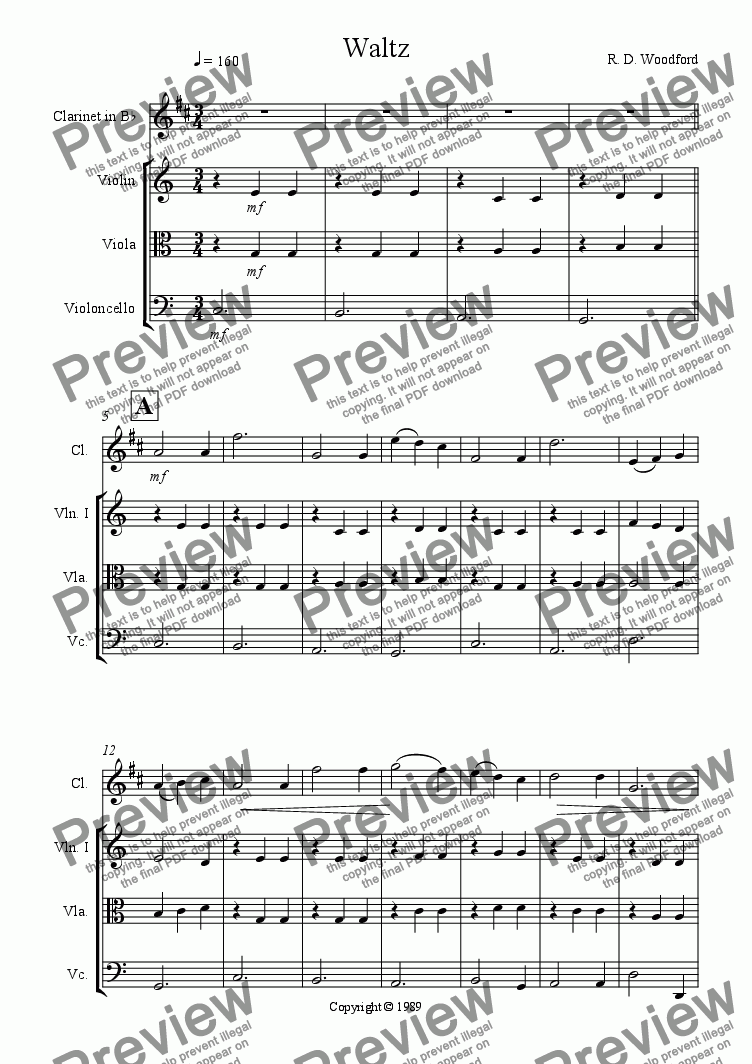 page one of Waltz for Clarinet and String Trio