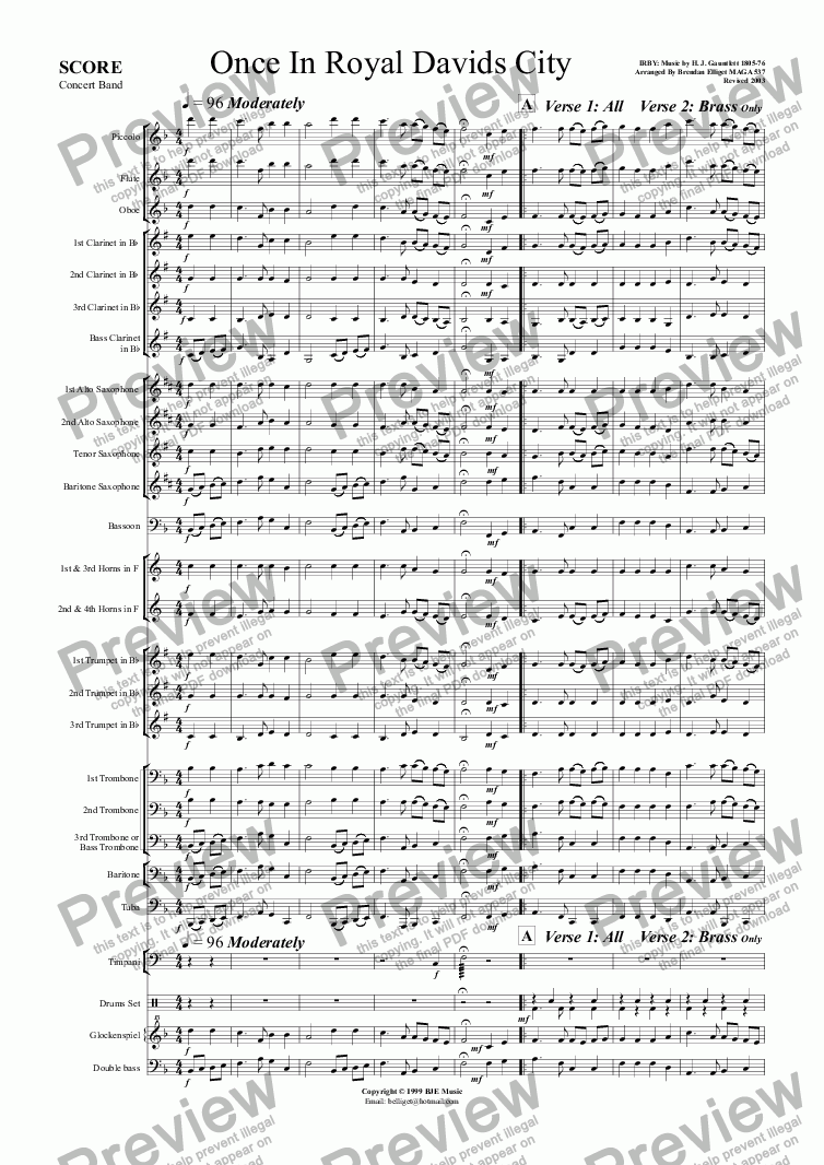 page one of Once In Royal David's City (Christmas) - Concert Band