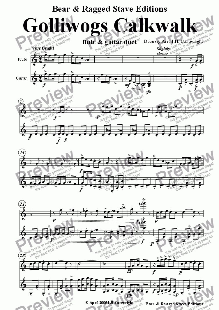 page one of Golliwogs Calkwalk for flute & Guitar
