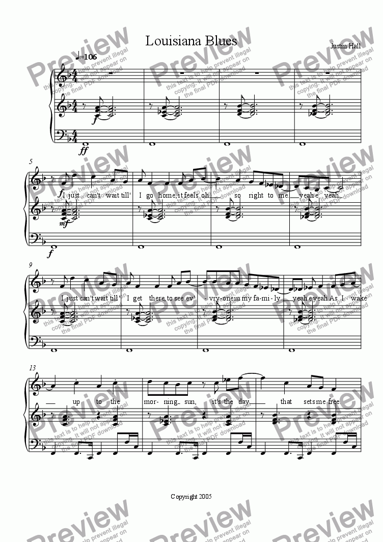 page one of Louisiana BluesASALTTEXT