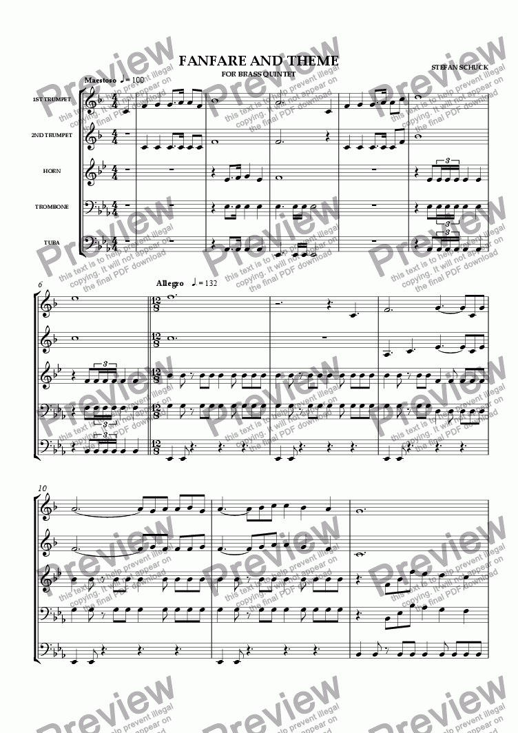 page one of Fanfare and Theme
