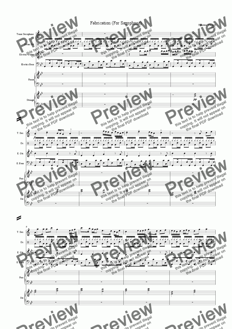 page one of Fabrication (For Saxophone)