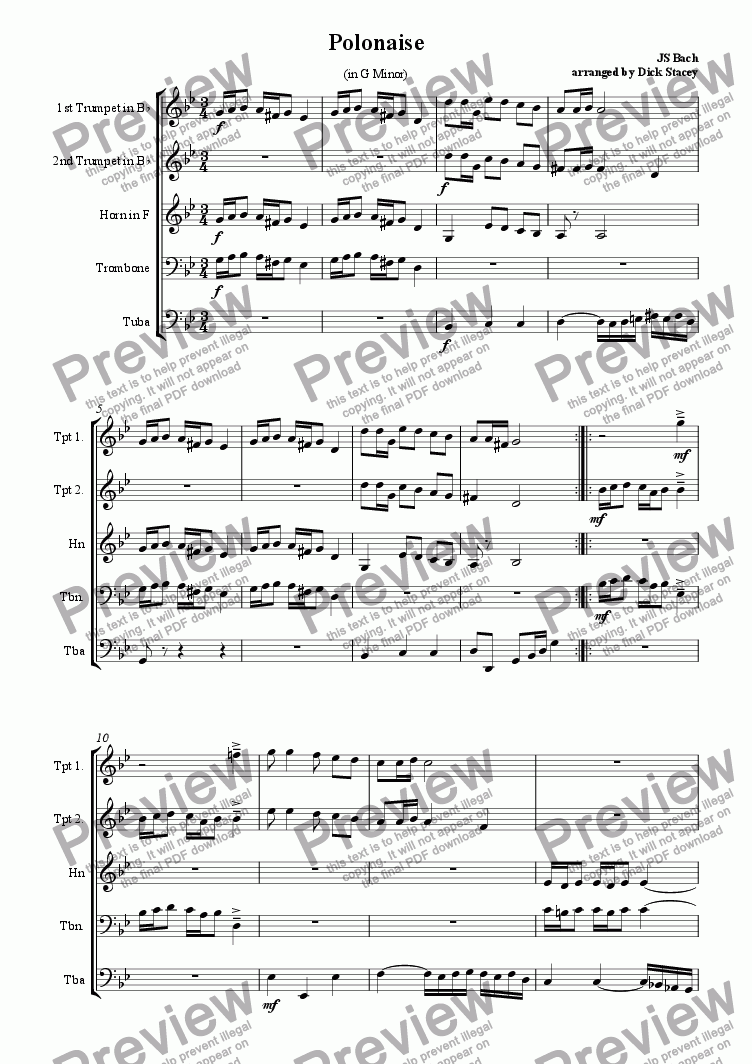 page one of Polonaise in G Minor