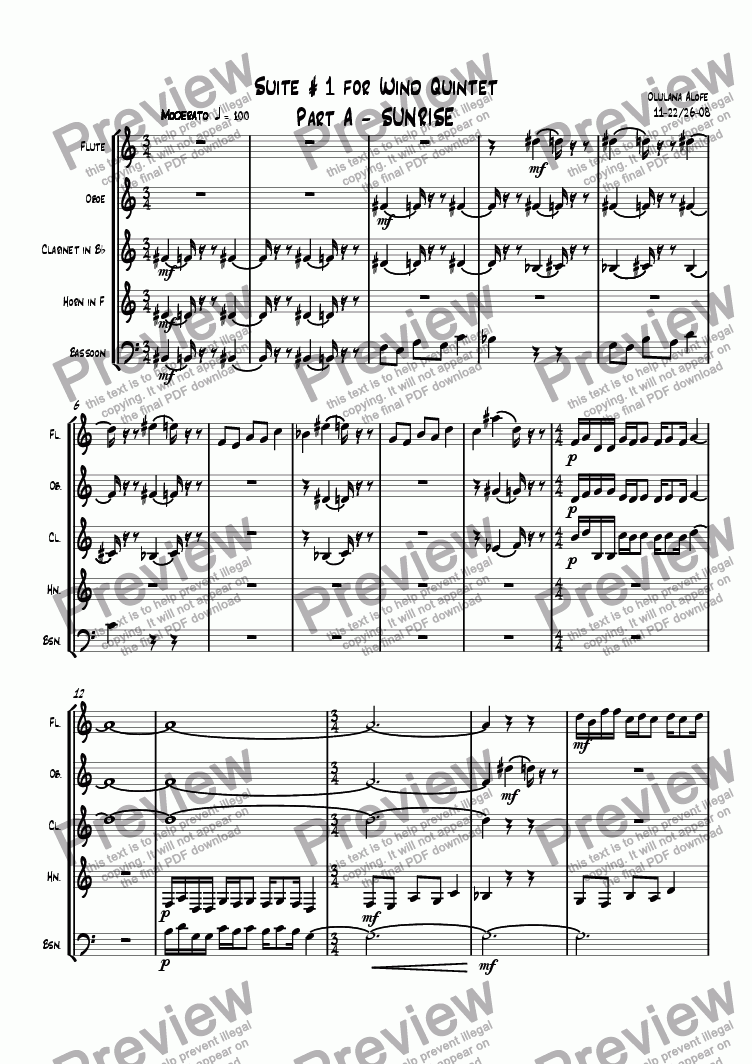page one of Suite #1 For Wind Quintet