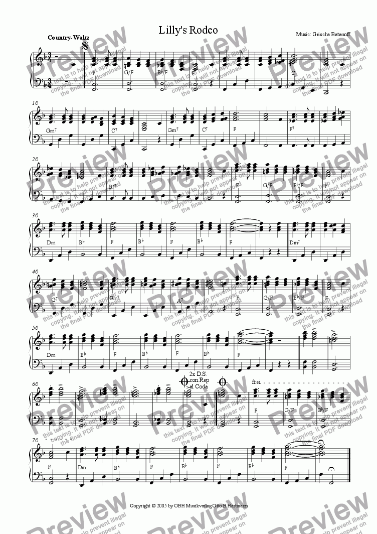 page one of Lilly's Rodeo (Country-Waltz)