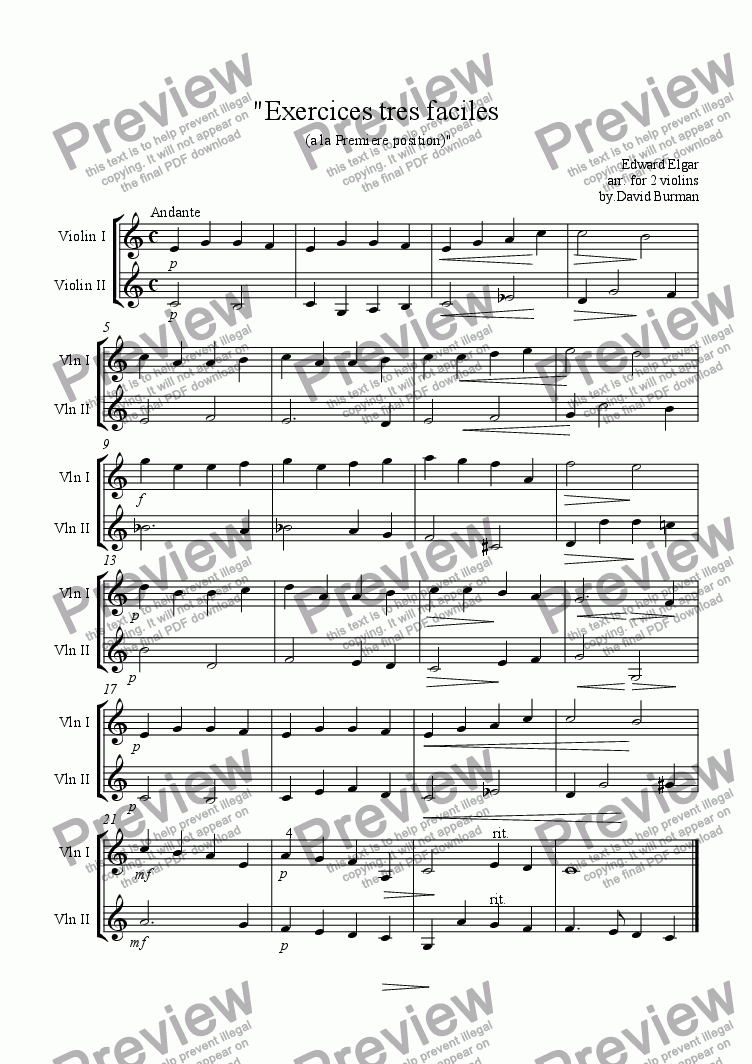 page one of Exercises tres Faciles(a la Premiere Position)