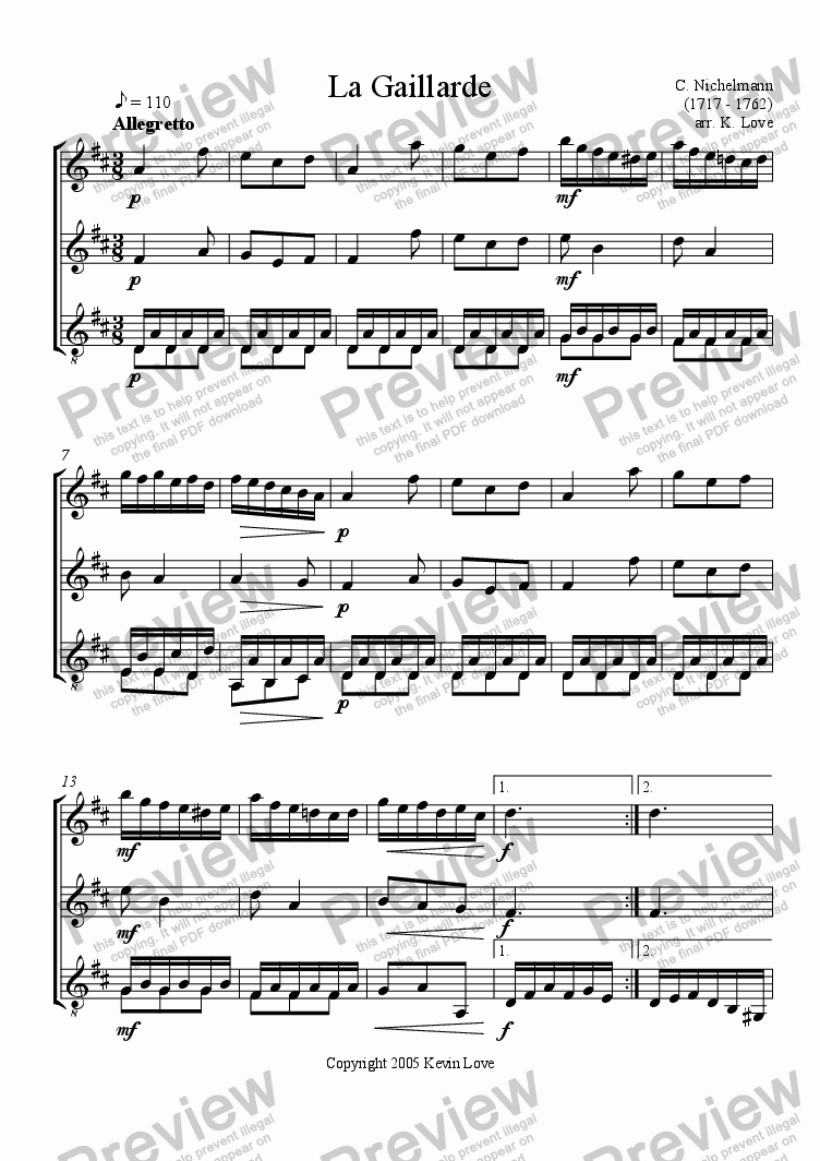 page one of La Gaillarde (Flute, Violin and Guitar)