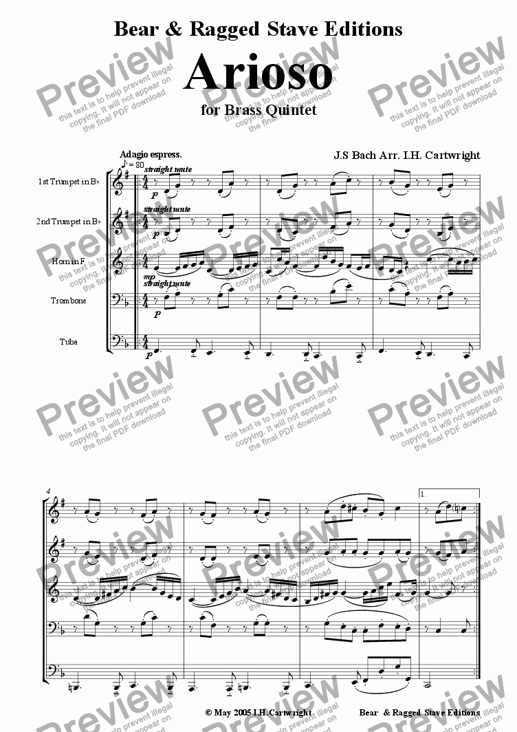 page one of Arioso for brass quintet