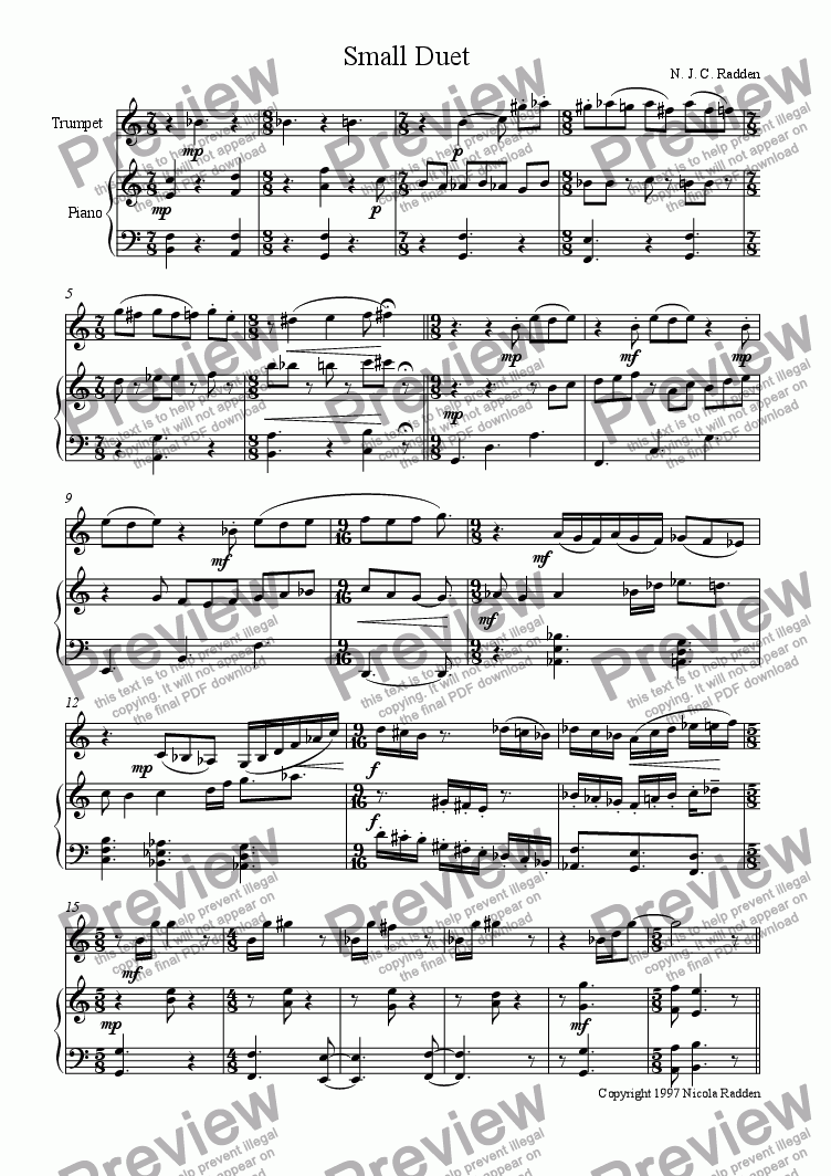 page one of Small Duet