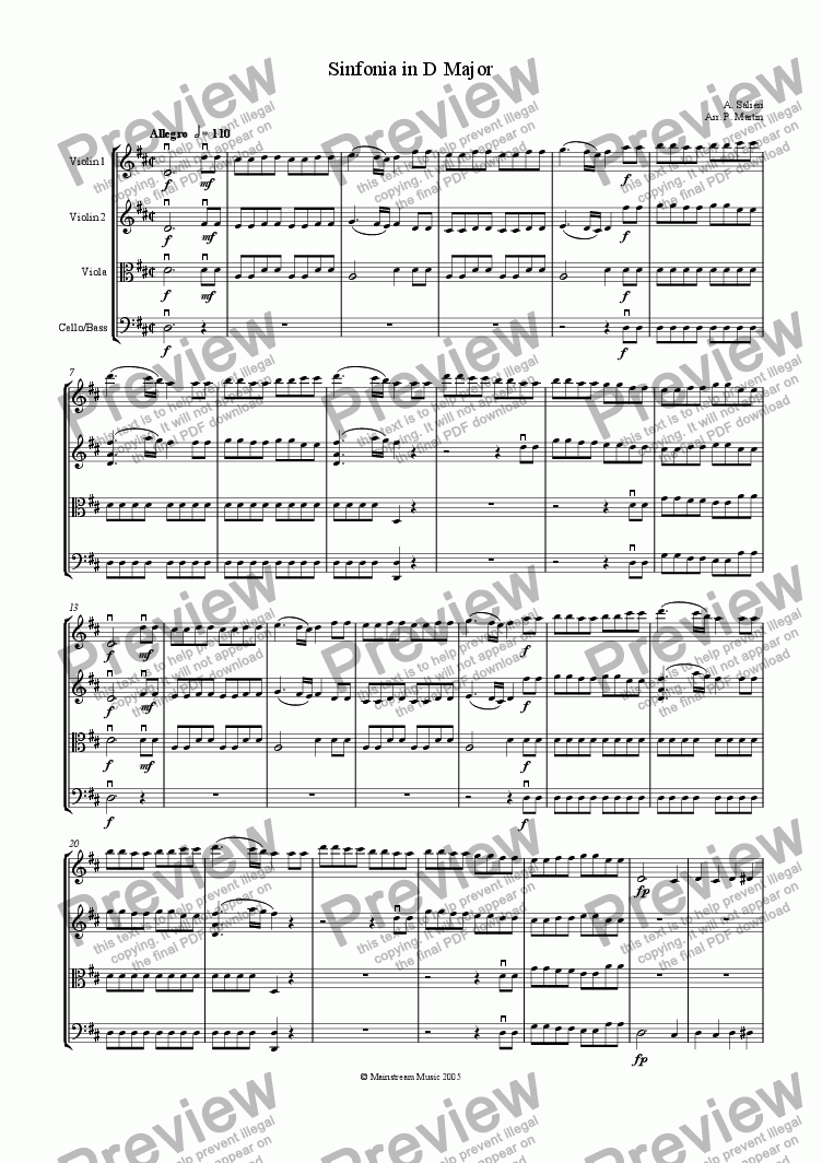 page one of Sinfonia in D Major