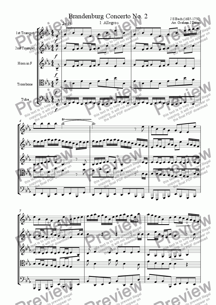 page one of Brandenburg Concerto No. 2 for Brass Quintet (1)