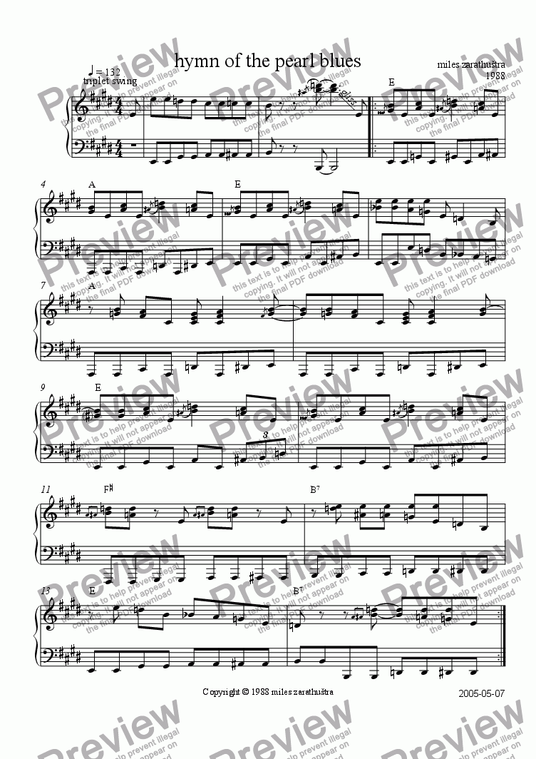 page one of hymn of the pearl blues