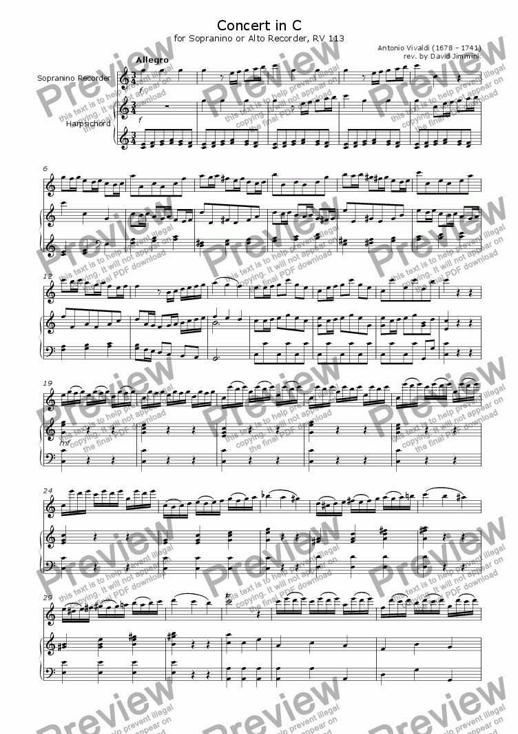 page one of Concert in C (RV 443)