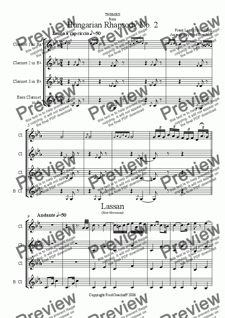 page one of Hungarian Rhapsody No 2