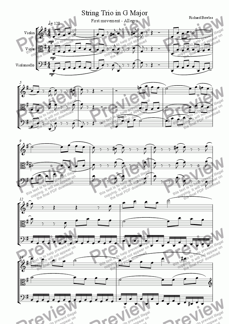 page one of String Trio in G major - First Movement
