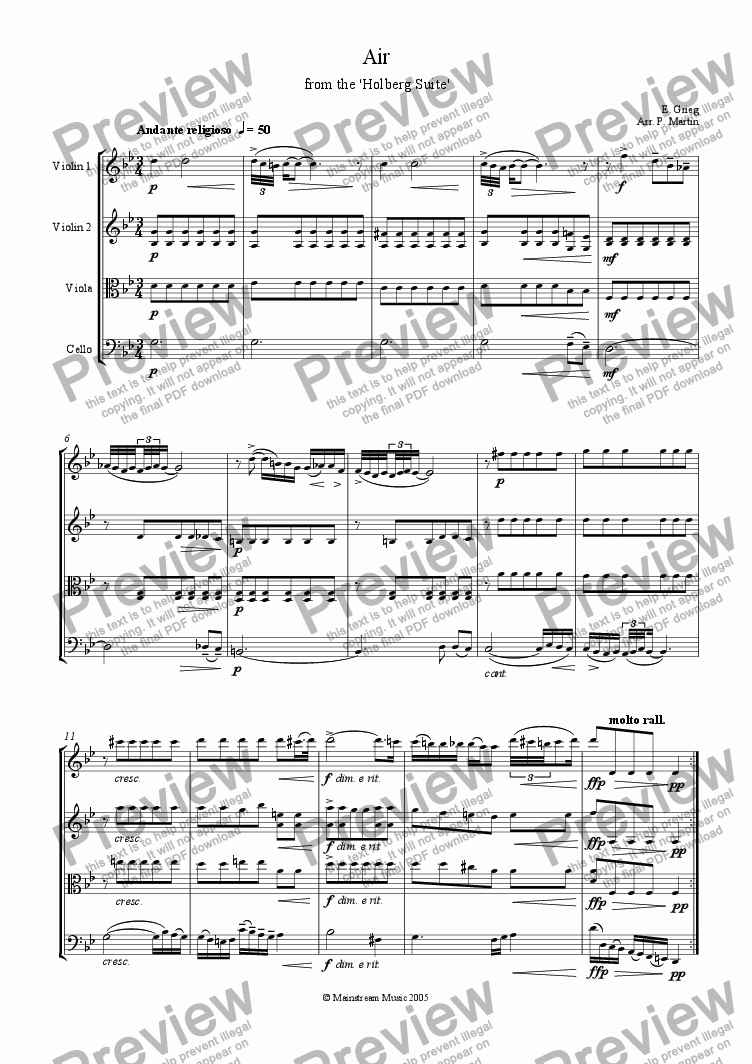 page one of Air from the Holberg Suite