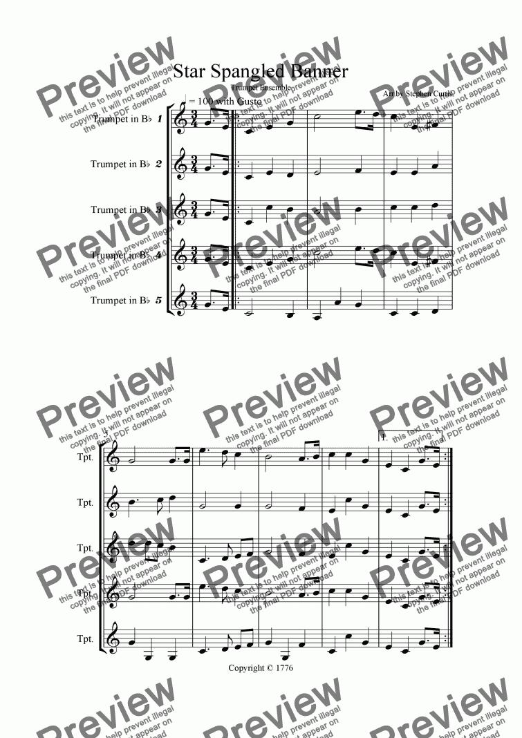 Star Spangled Banner Trumpet Quintet – Star Spangled Banner Worksheet