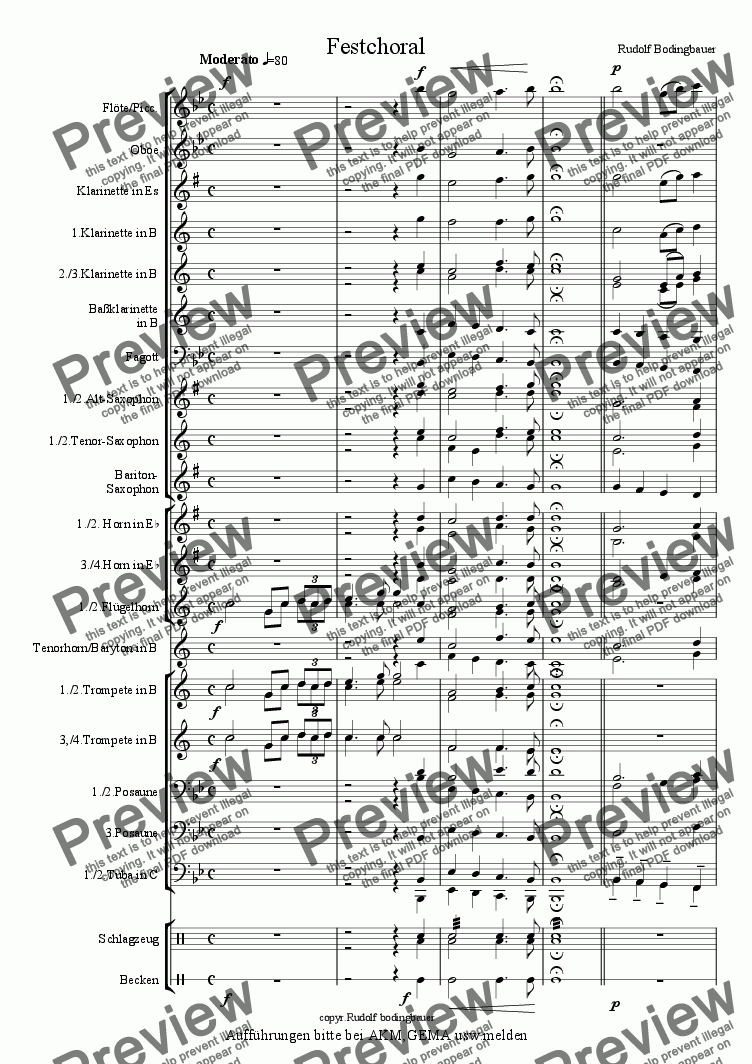 page one of Festchoral  f�r Blasorchester