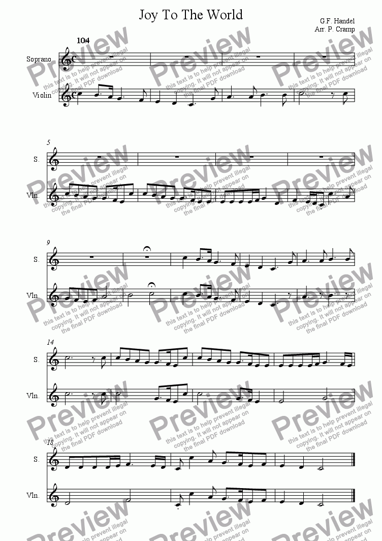 page one of Joy To The World (Violin & Soprano)