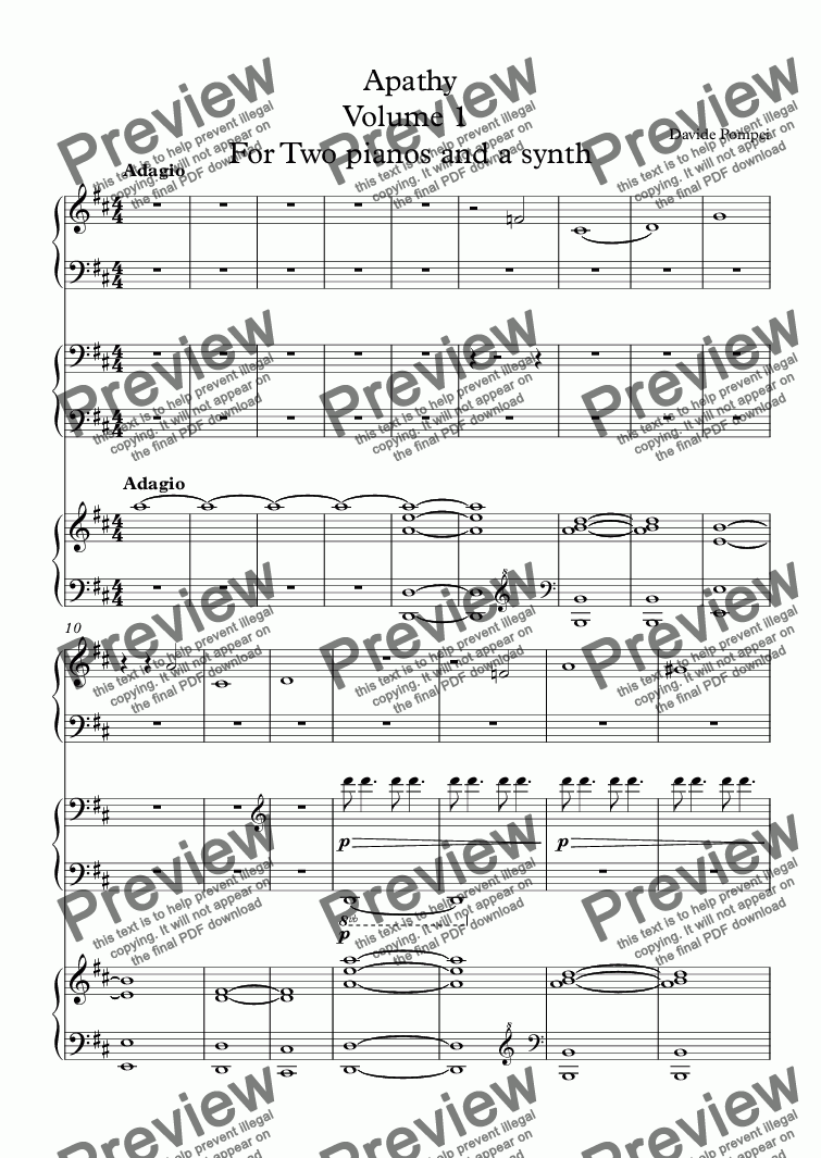 page one of Apathy Volume 1  For Two pianos and a synth