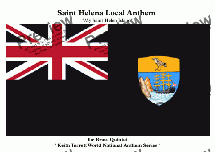 page one of Saint Helena Local Anthem ''My Saint Helena Island'' for Brass Quintet